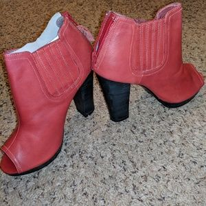 Red leather booties, sz 8.5/39